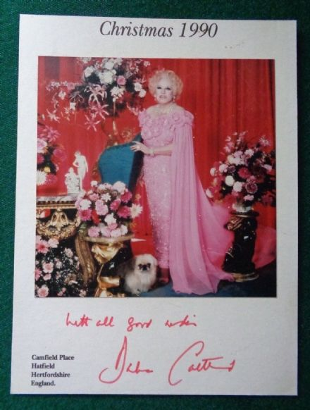 Antique Signed Christmas Card Princess Diana Grandmother Author Barbara Cartland